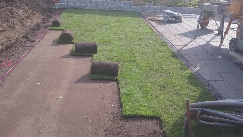 Rullegræs som er ved at blive lagt af en anlægsgartner i Sønderborg